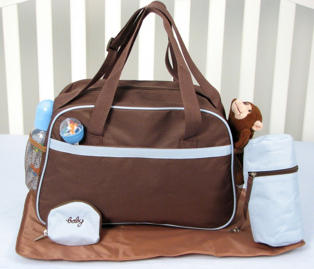 KIT DE BERCO SOHO AVIATOR ADVENTURE BABY 13 PCS INCLUDED DIAPER BAG WITH CHAGING PAD & BOTTLE CASE