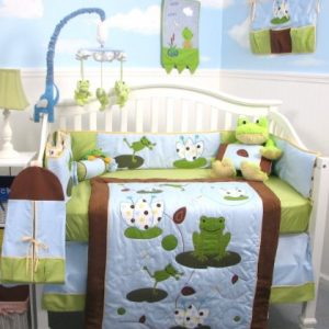 KIT DE BERCO SOHO FROGGIES PARTY BABY 13 PCS INCLUDED DIAPER BAG WITH CHAGING PAD & BOTTLE CASE