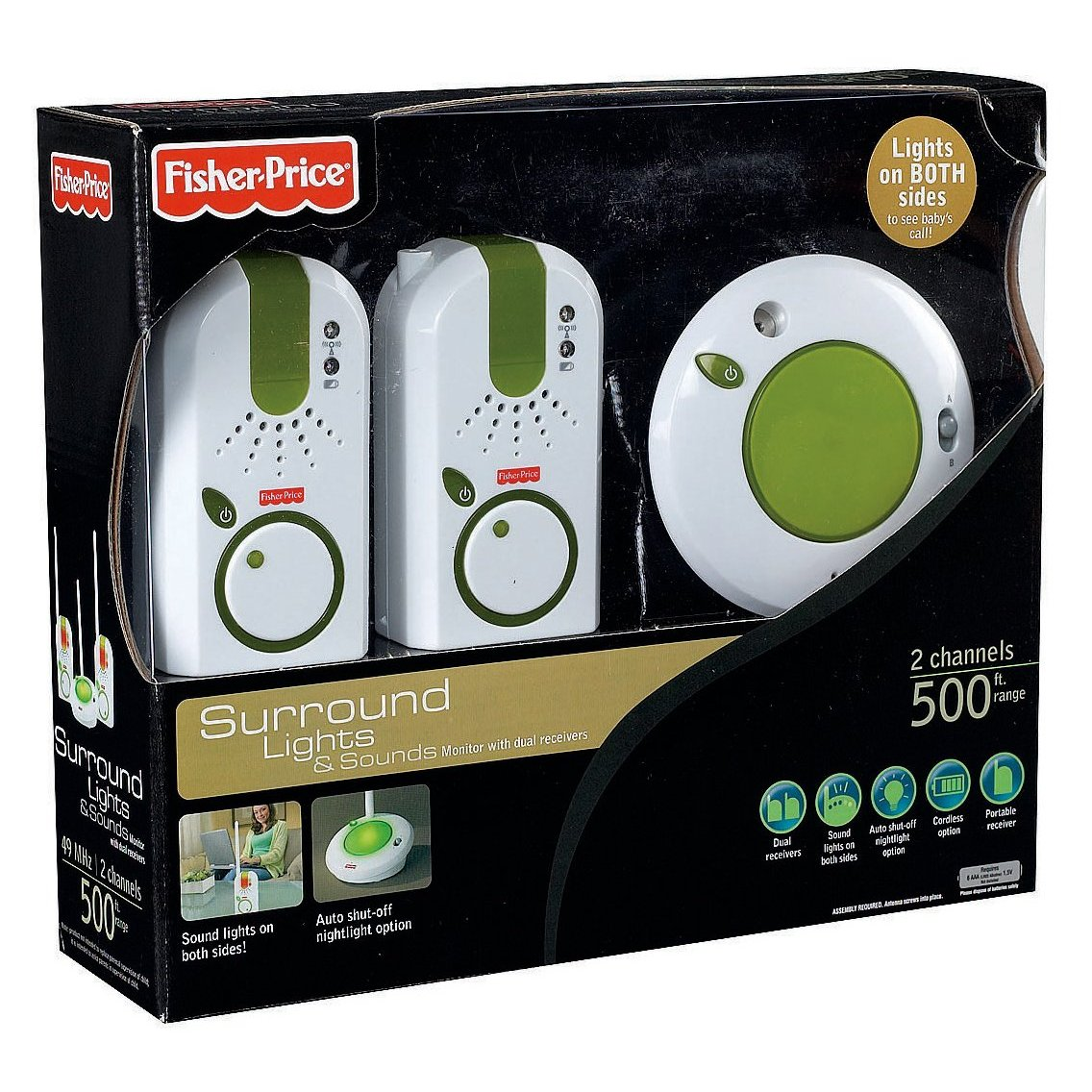BABA ELETRONICA FISHER PRICE SUNROUND LIGHTS & SOUNDS MONITOR WITH DUAS RECEIVERS