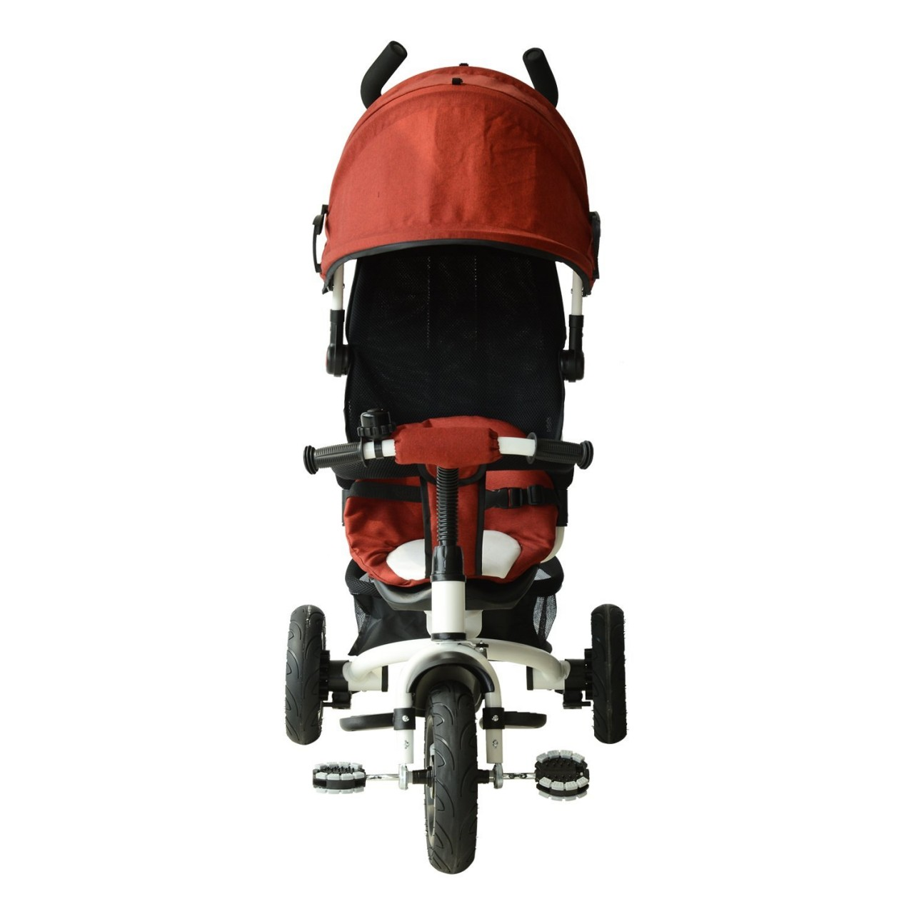 Carrinho de Beb? Triciclo Qaba 2-in-1 Lightweight Convertible Tricycle Baby Stroller - Red